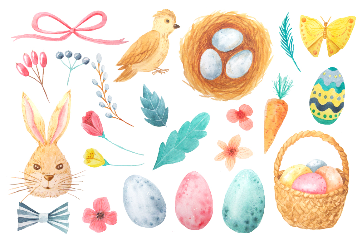 Watercolor Easter Set example image 2