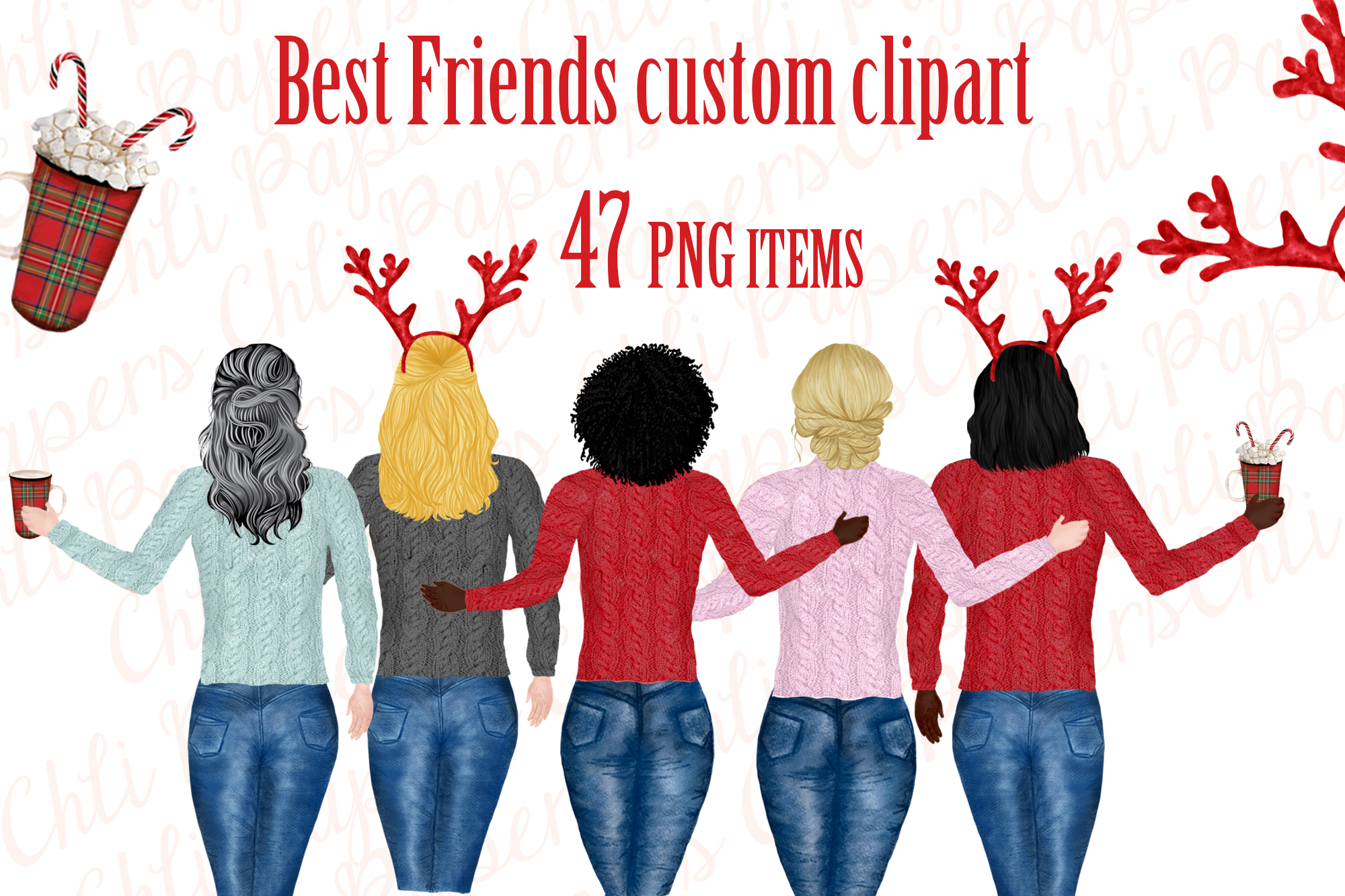 Girl best friend clipart, Christmas clipart,Holiday ...