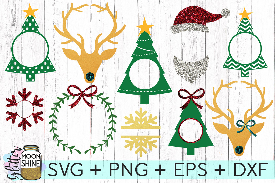 Christmas Monogram Frame Bundle SVG DXF PNG EPS Cut Files example image 1