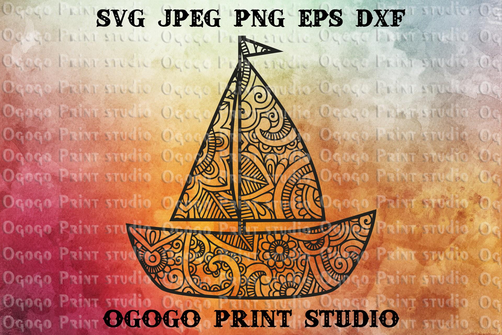 Boat SVG, Zentangle SVG, Mandala svg, Baby shower svg example image 1