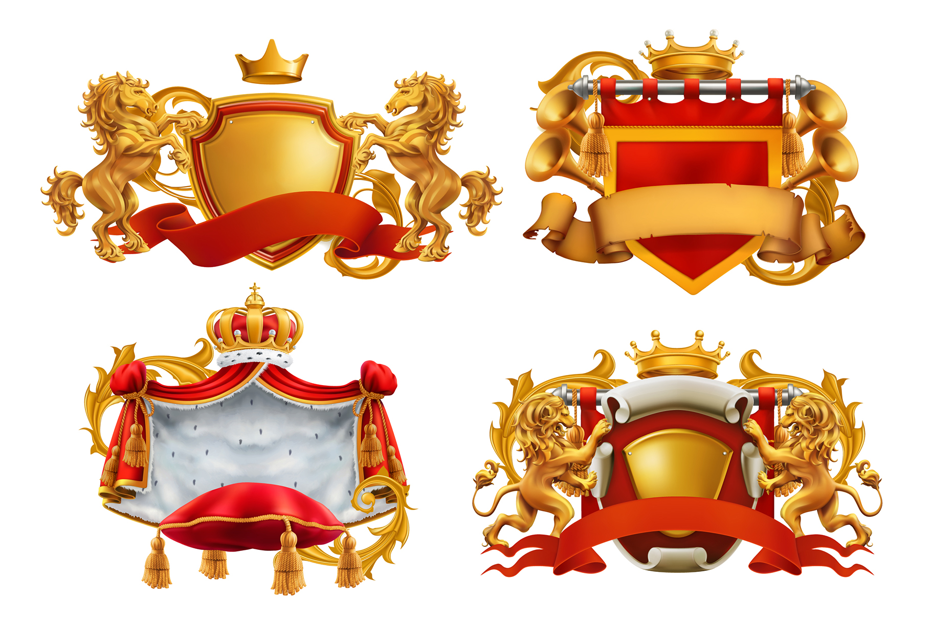 Heraldic set. Award. Royal crown, queen, king symbol, vector example image 2