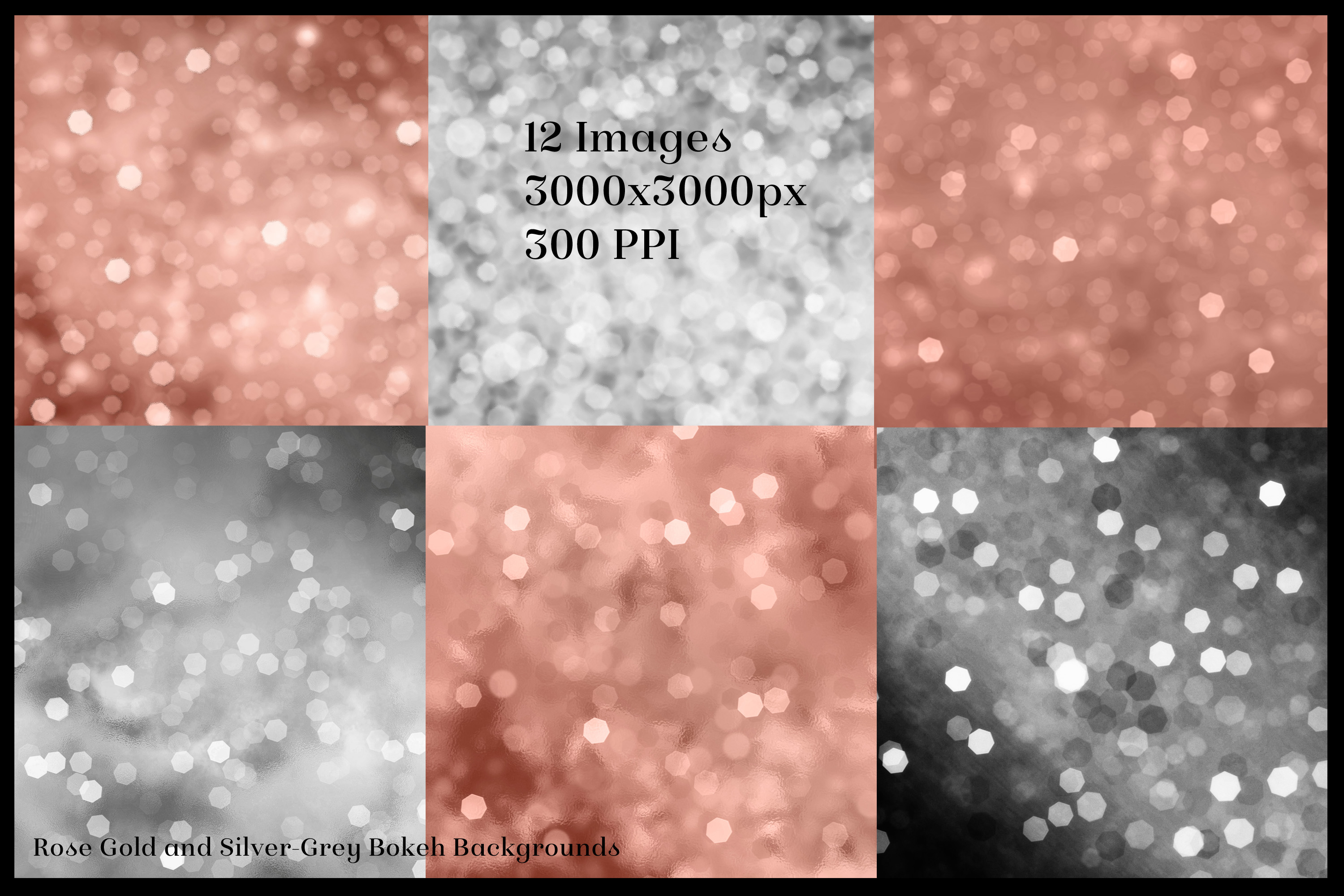 Rose Gold and Silver-Grey Bokeh Backgrounds - 12 Image Set example image 2