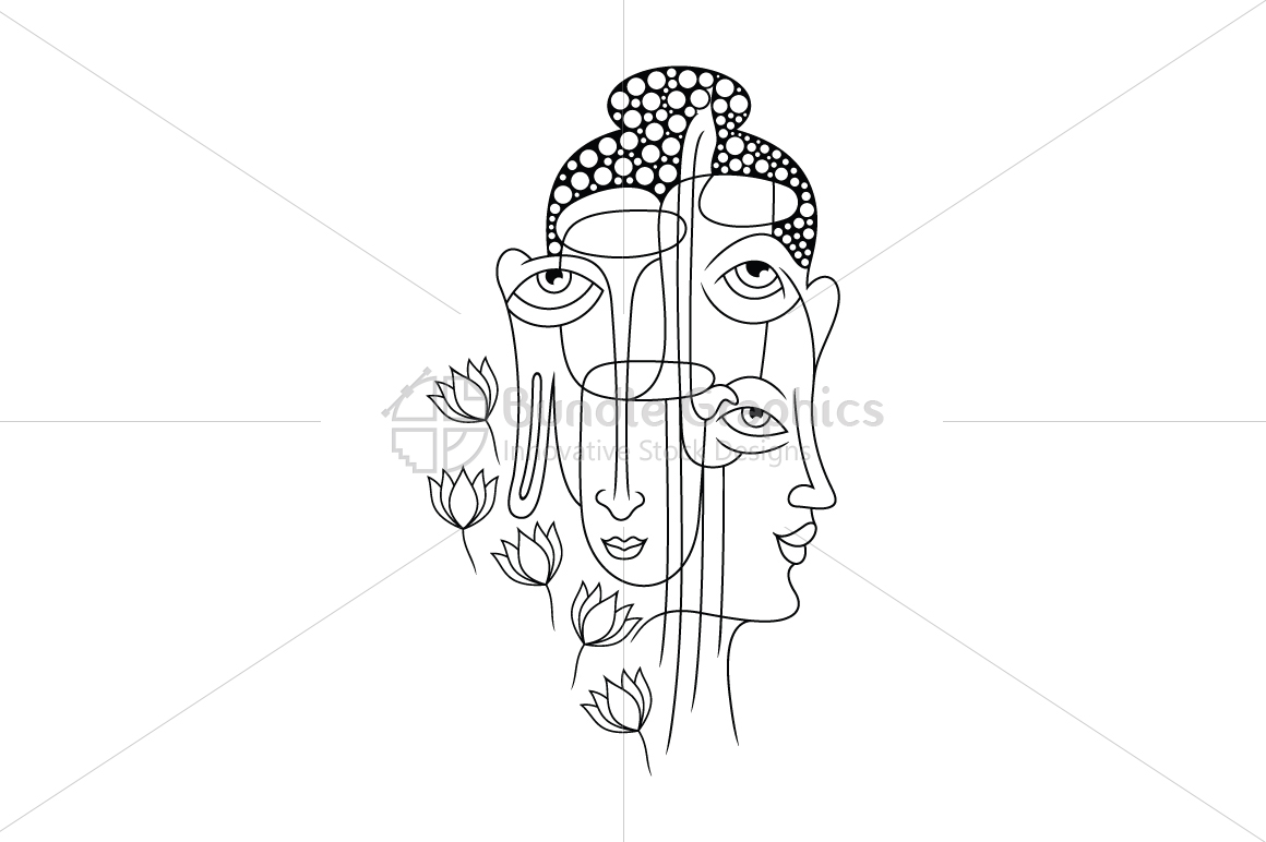 Buddha Faces - Illustrative  Artwork example image 1