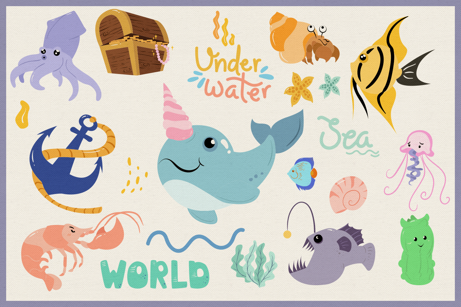 Underwater World 65 Vector Clipart & Seamless Patterns example image 4