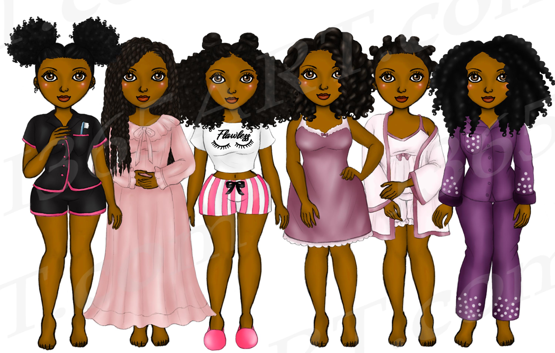 Pajama Girls Slumber Party Black Girls Natural Hair Clipart example image 2