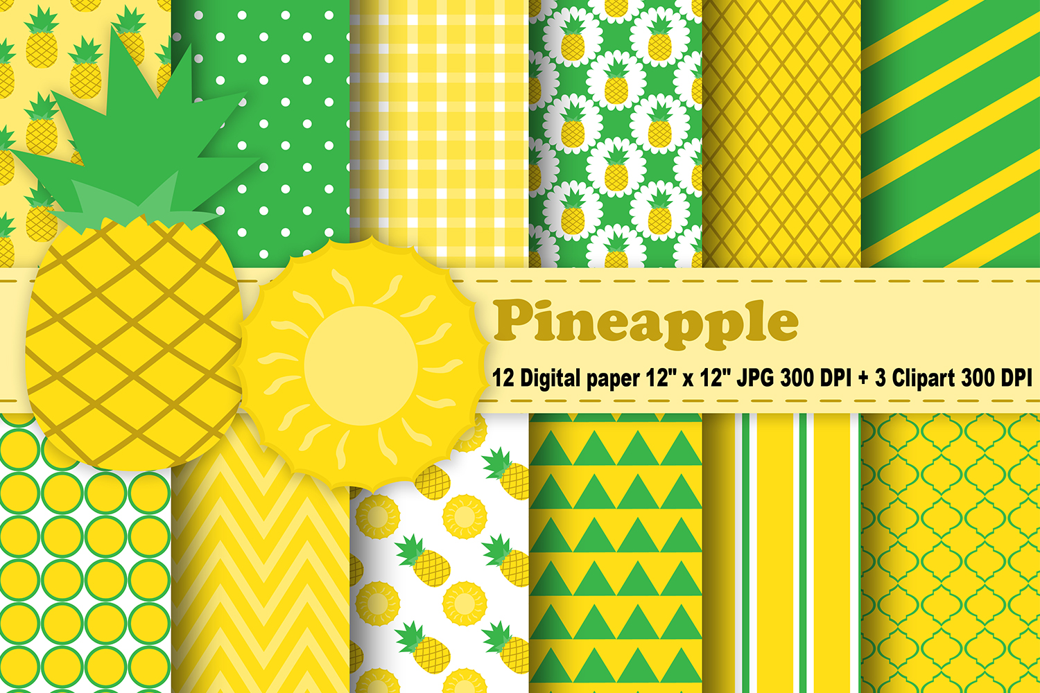 Pineapple Digital Paper, Fruits Background, Tropical ...