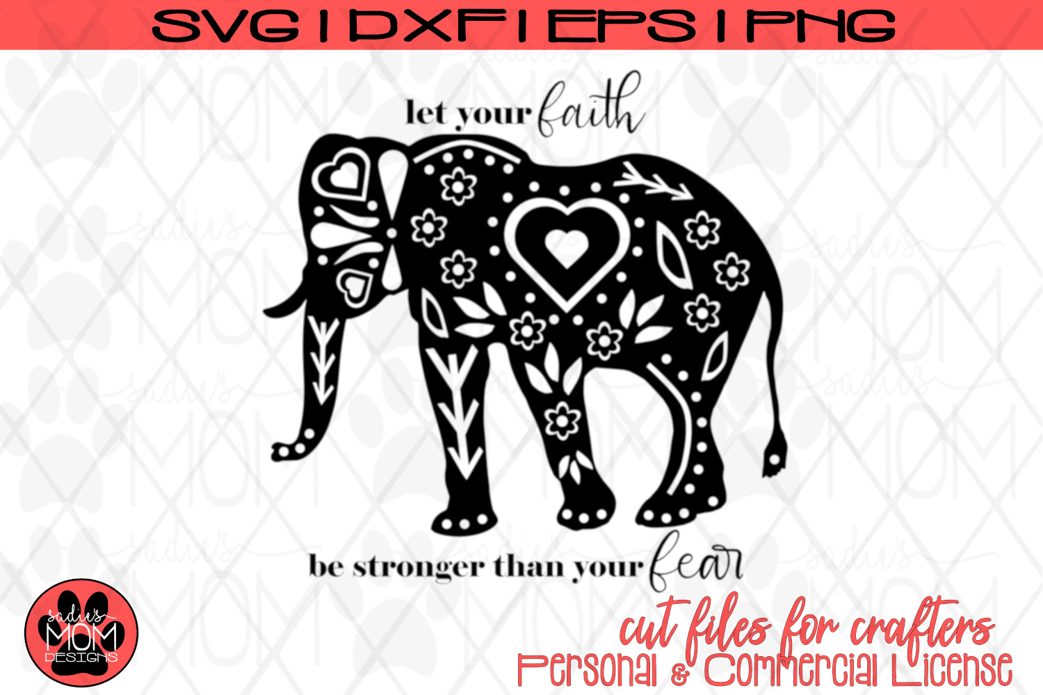 Doodle Elephant - Let your Faith be Stronger than your Fear example image 2