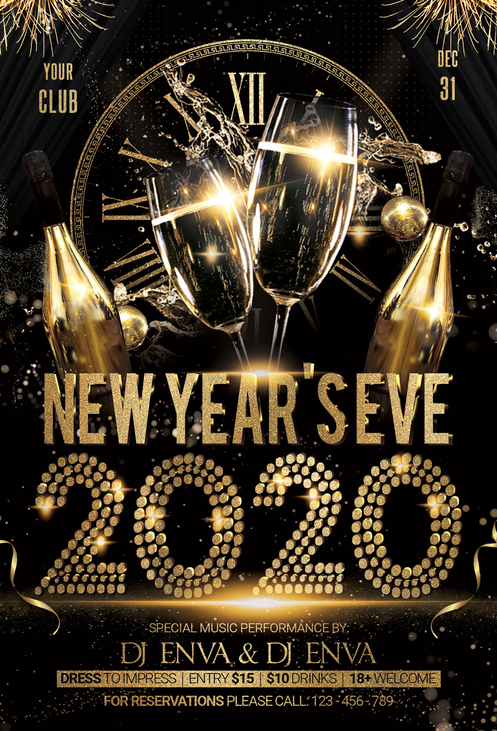 New Years Eve Christmas Party Flyer example image 3