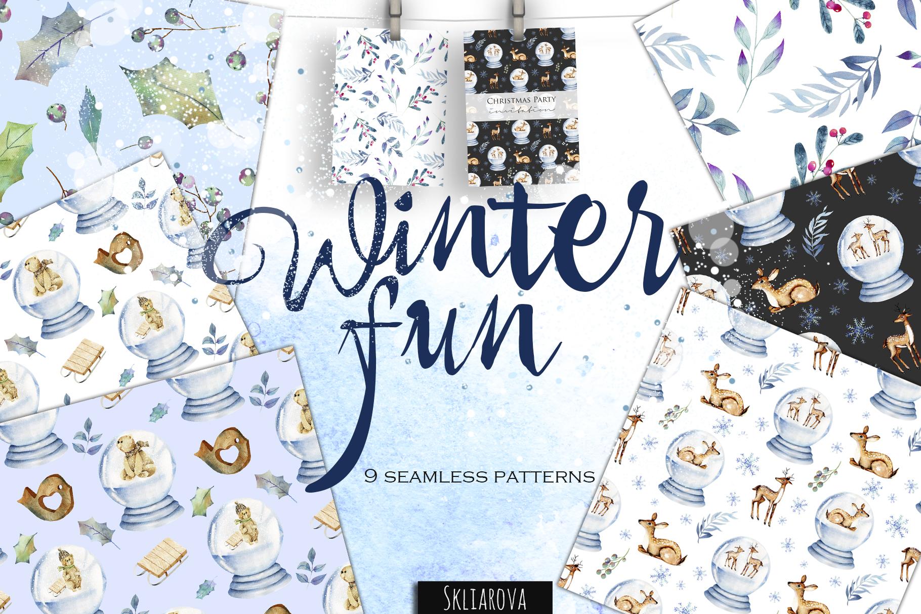 Winter fun. Christmas patterns. example image 1