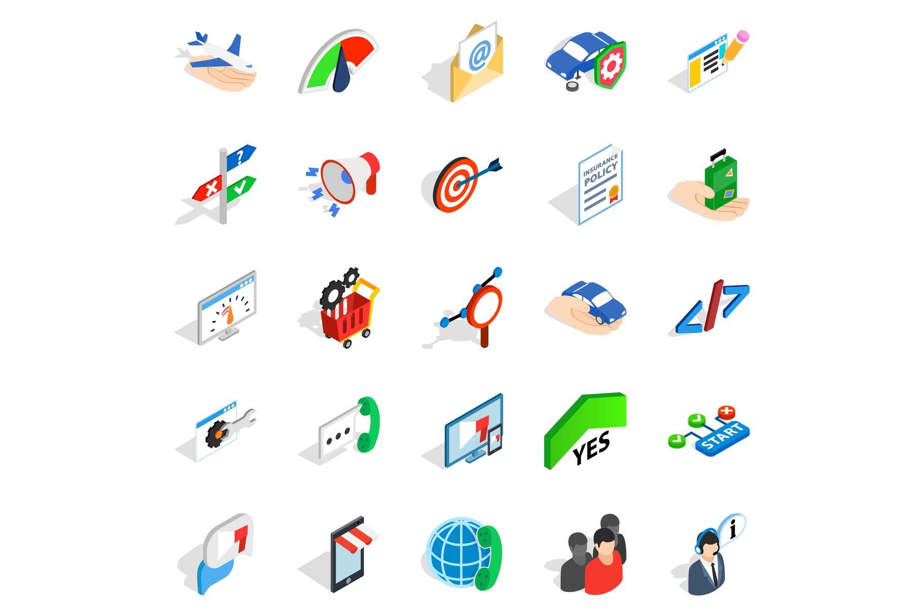 Profession icons set, isometric style example image 1