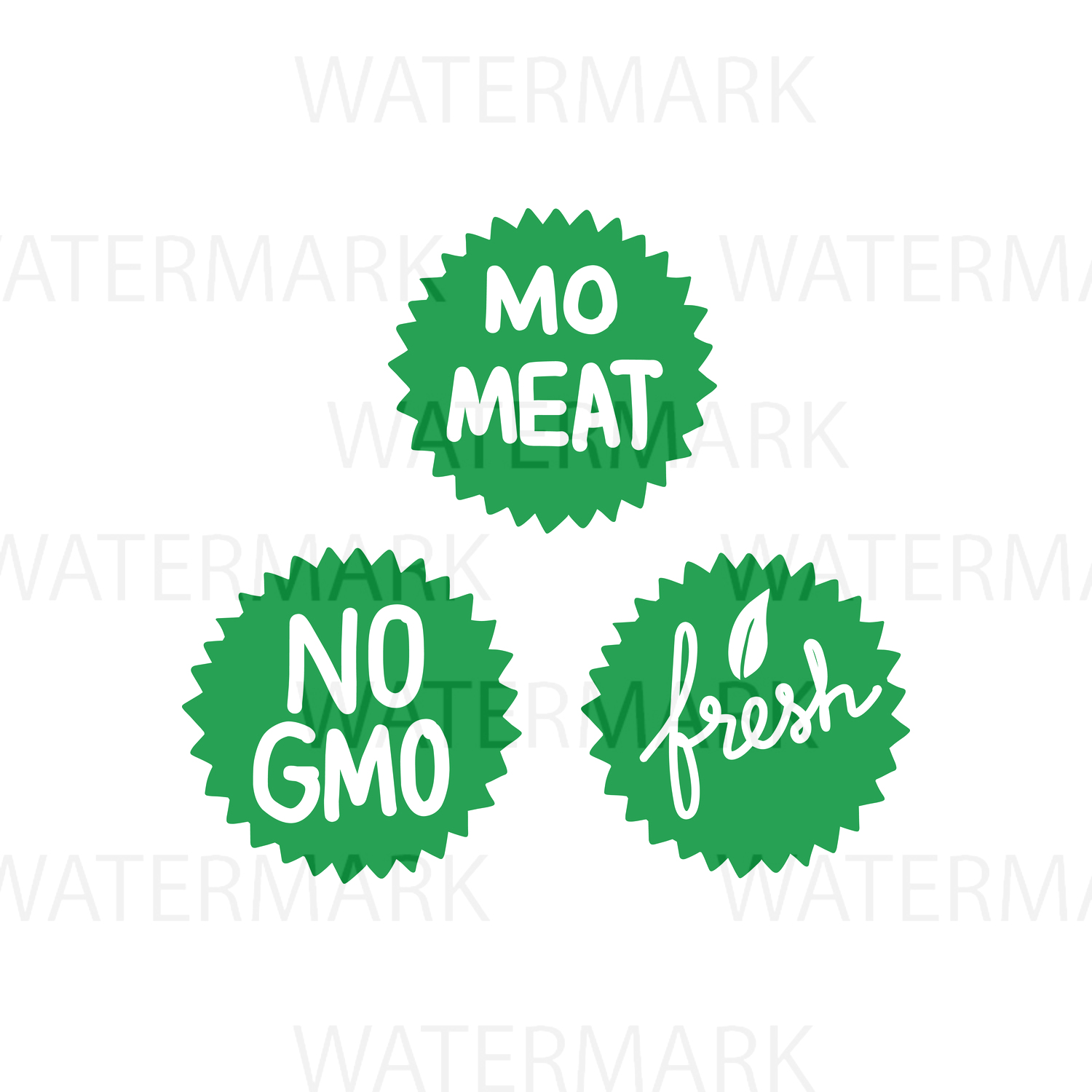 Fresh No Meat No GMO Badge Sticker  - SVG/JPG/PNG - Hand Drawing example image 1