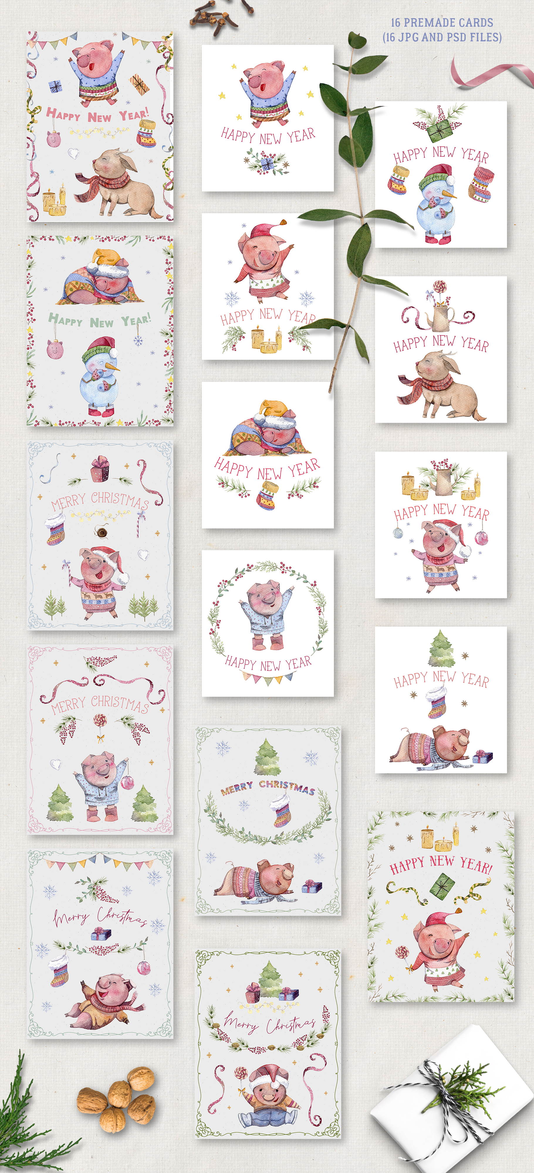 Merry pigsmas. Watercolor collection example image 3