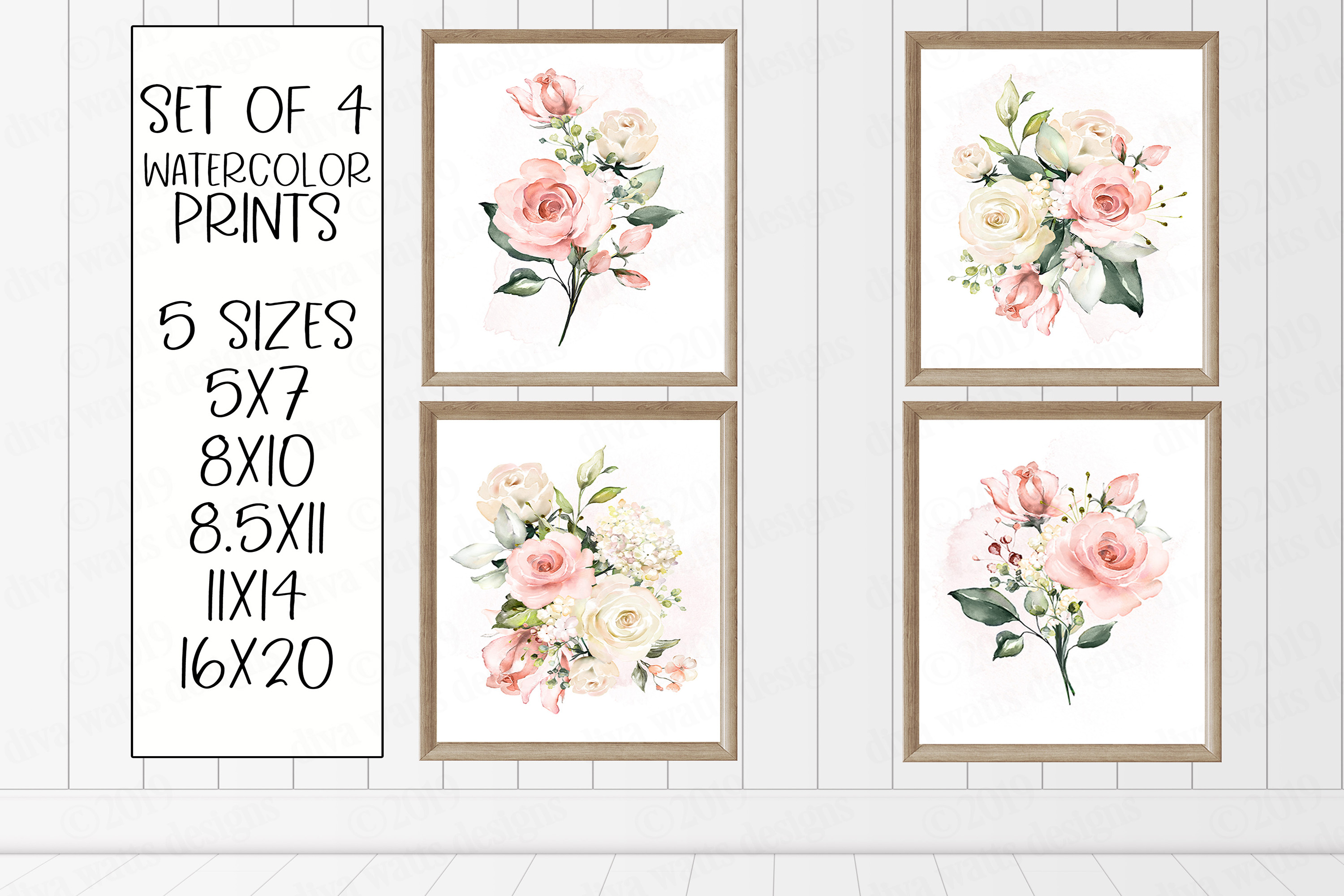 Watercolor Roses and Greenery Print Set of 4 Prints example image 1