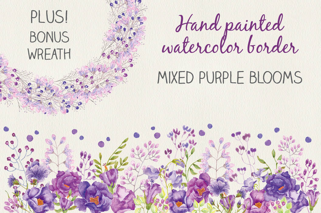 Watercolor border of purple flowers example image 1