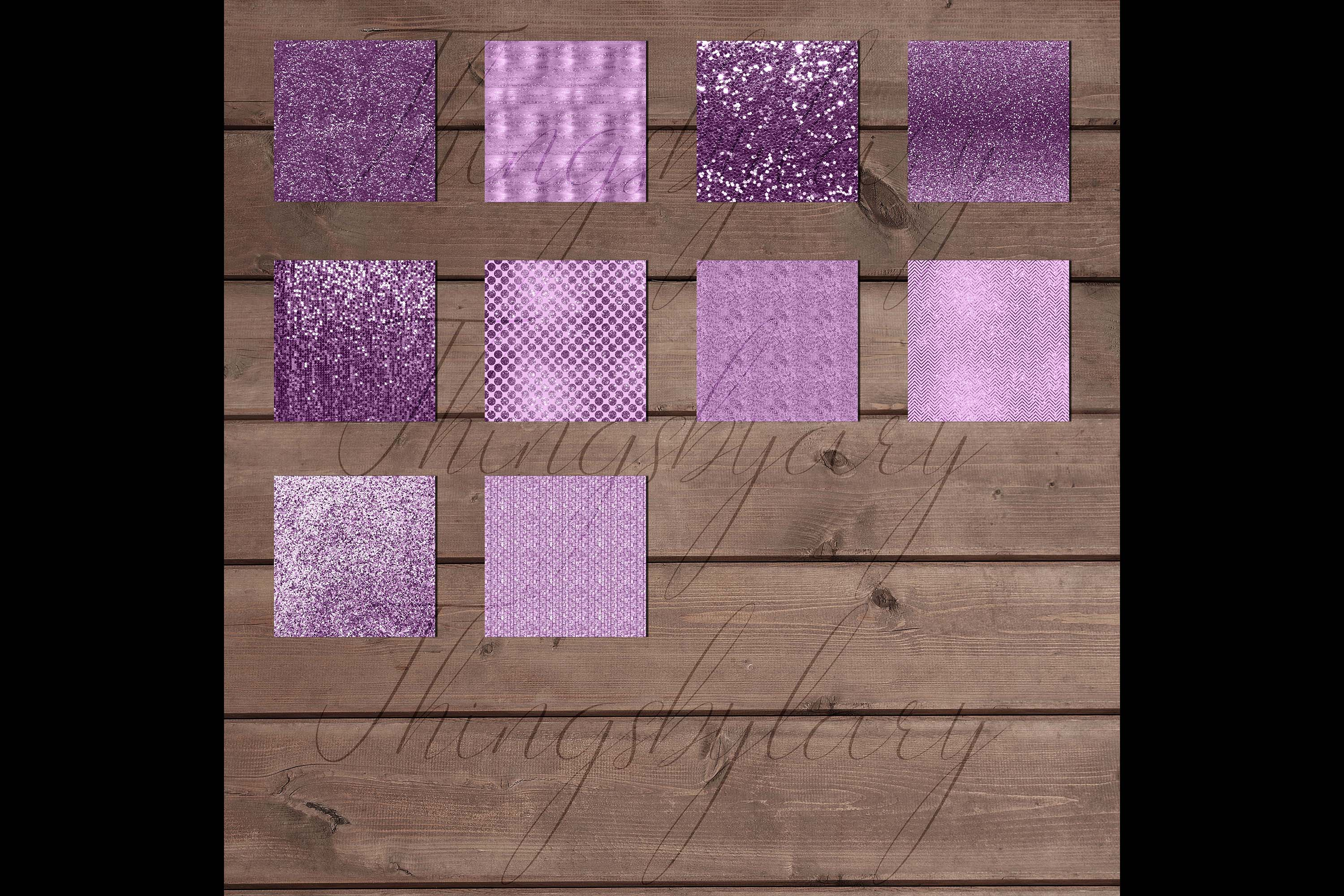 42 Amethyst Plum Purple Lilac Glitter Sequin Digital Papers example image 9