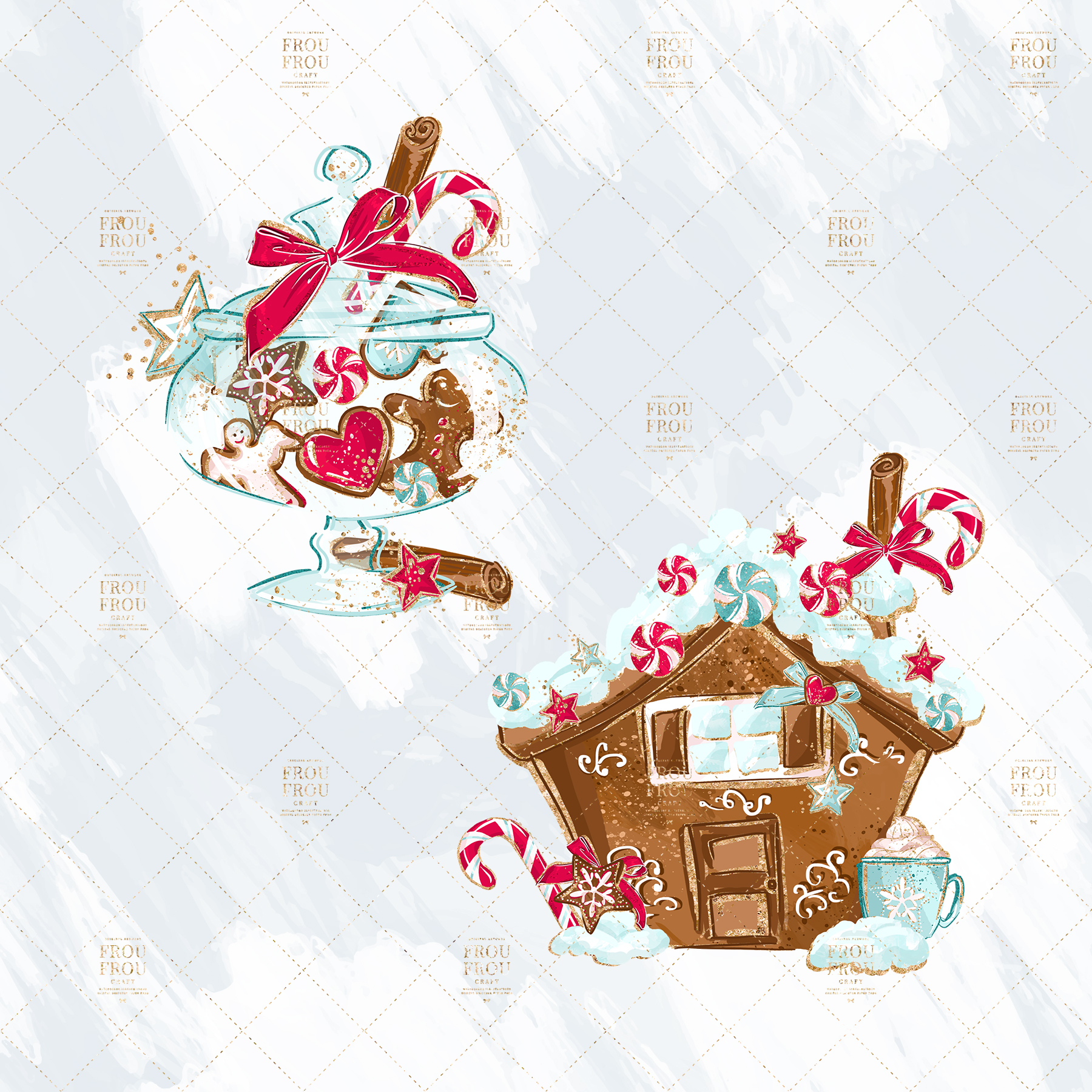 Christmas Winter Ginger Bread Sugar Cane Clip Art example image 3