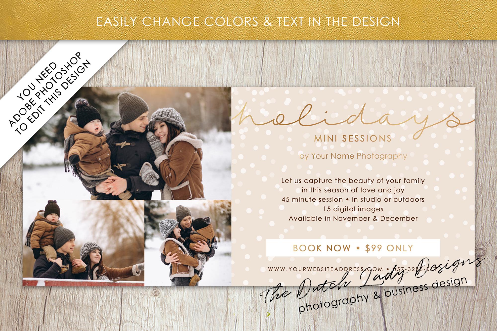 PSD Photo Mini Session Card Template - Design #24 example image 3