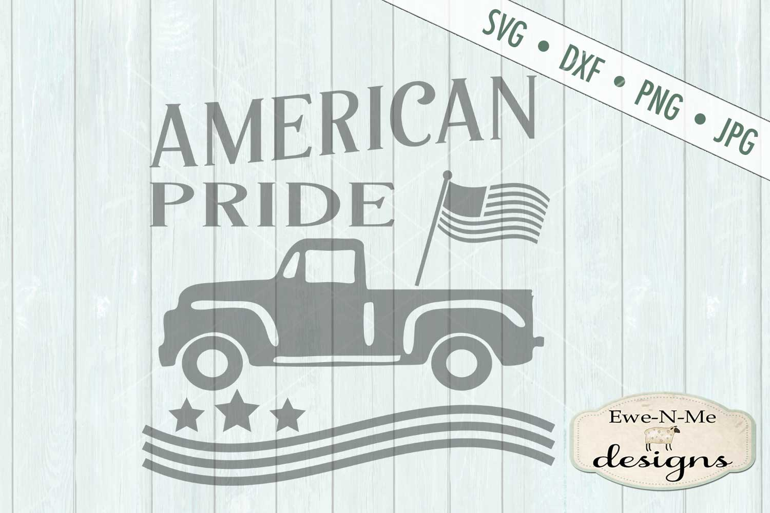 American Pride - Vintage Truck - Flag 4th of July - SVG DXF example image 3