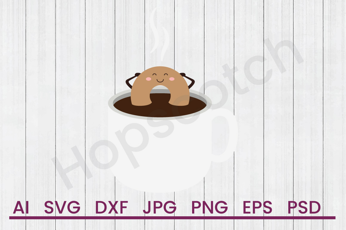 Donut in Coffee SVG, DXF File, Cuttatable File example image 1