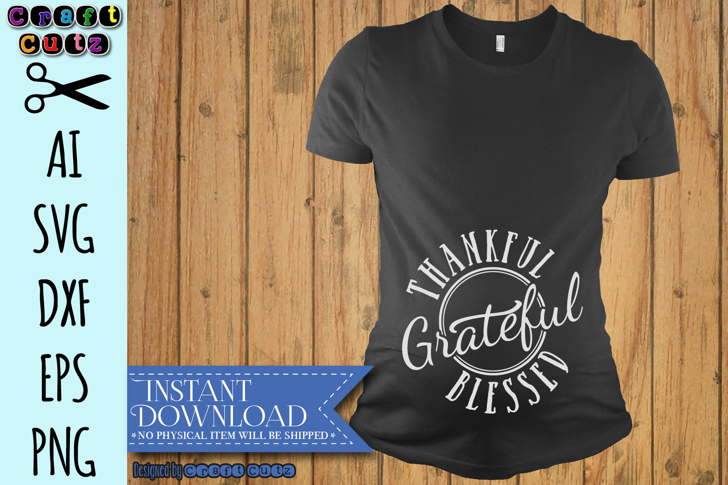 Thanksgiving Maternity SVG, Thankful Grateful Blessed SVG example image 3
