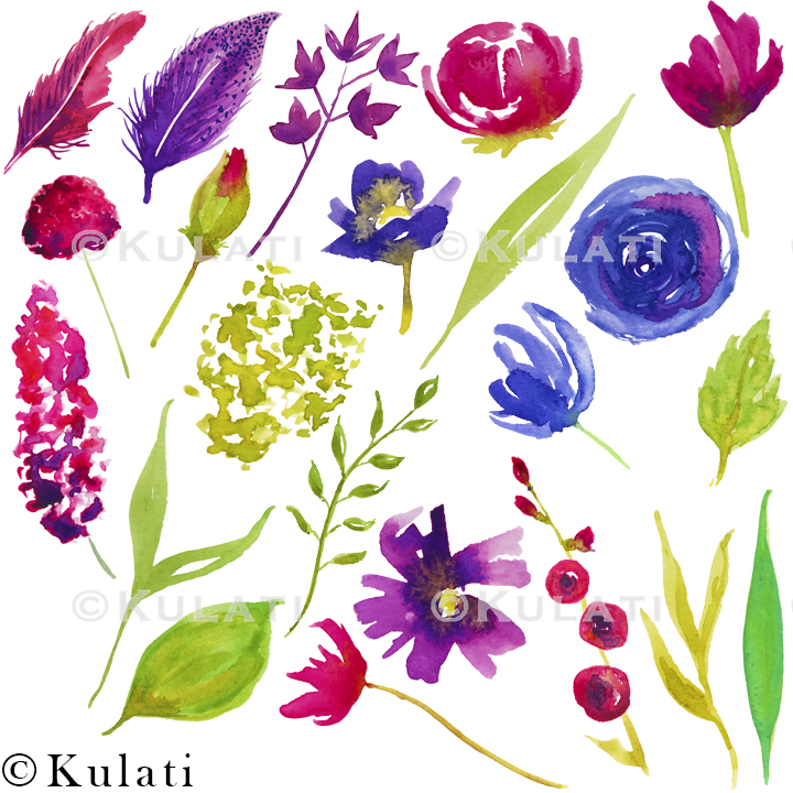 Bohemian Summer Watercolor Floral & Feather Clipart example image 2