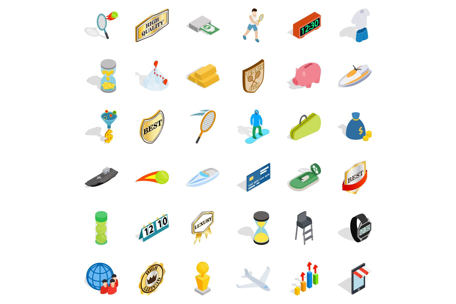 Small victory icons set, isometric style example image 1