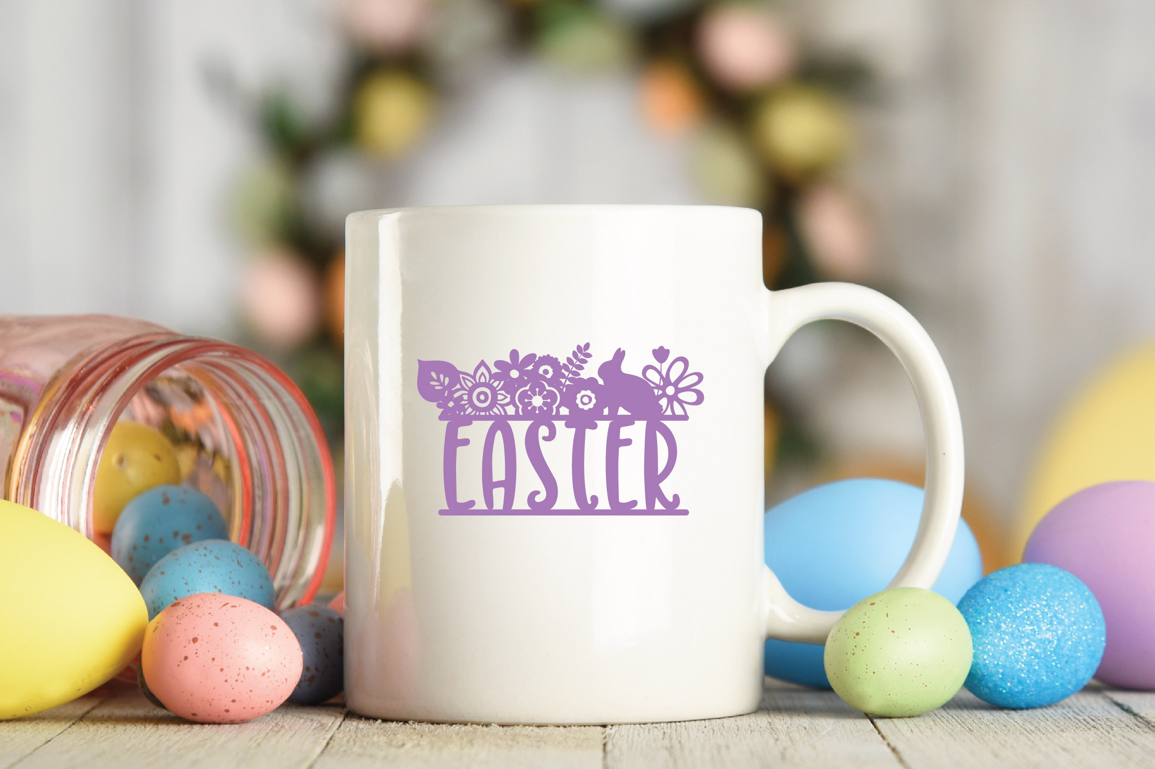 Easter SVG Cut File - Easter Floral SVG DXF EPS PNG AI example image 5