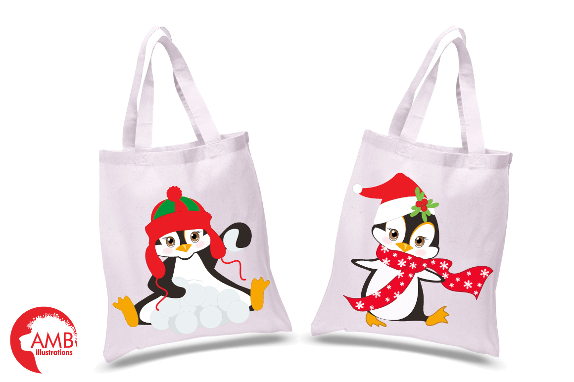 Winter Penguins cliparts, graphics, illustrations AMB-307 example image 3