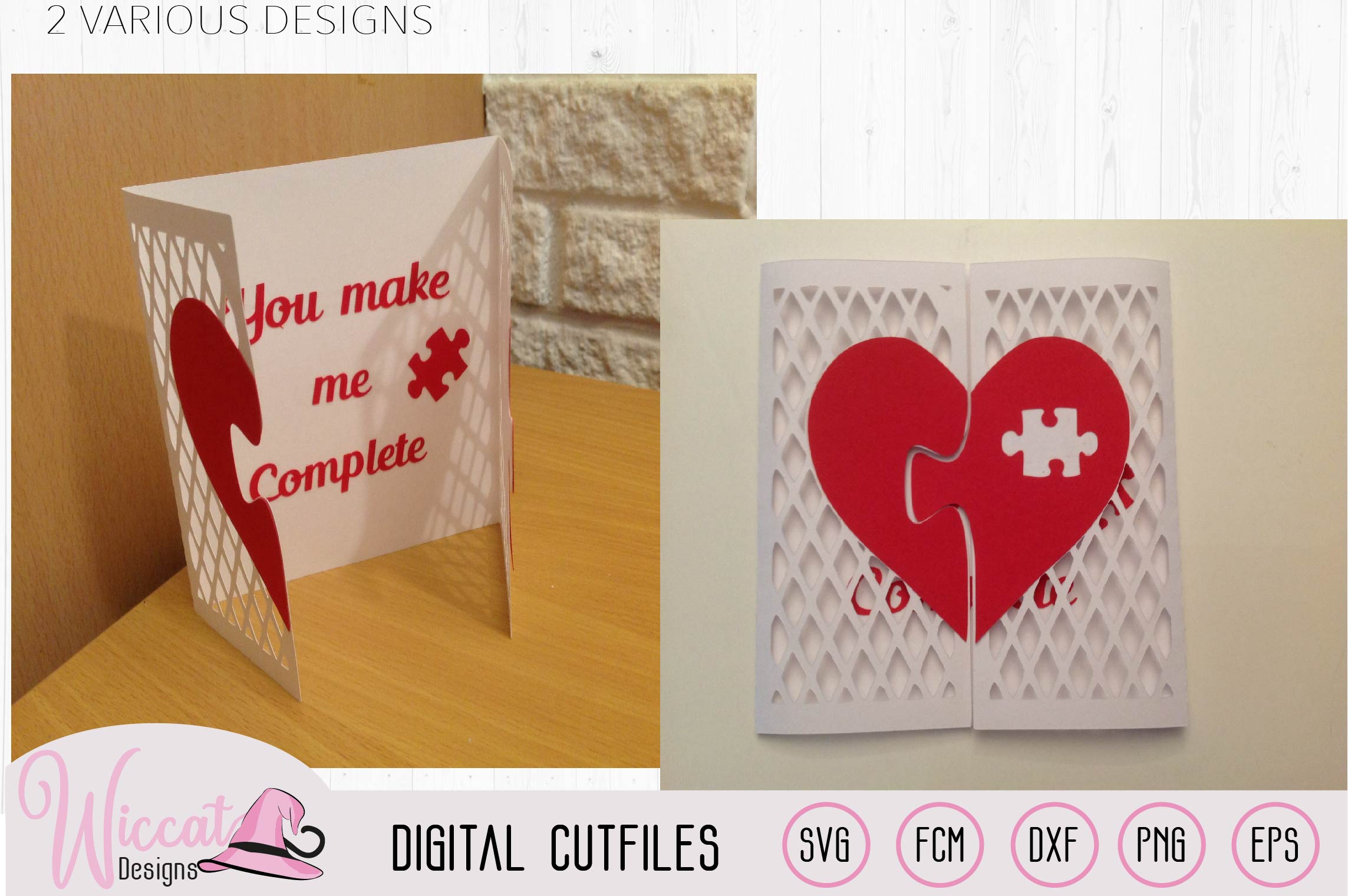 Valentine puzzle card svg, template svg, Heart card svg example image 3