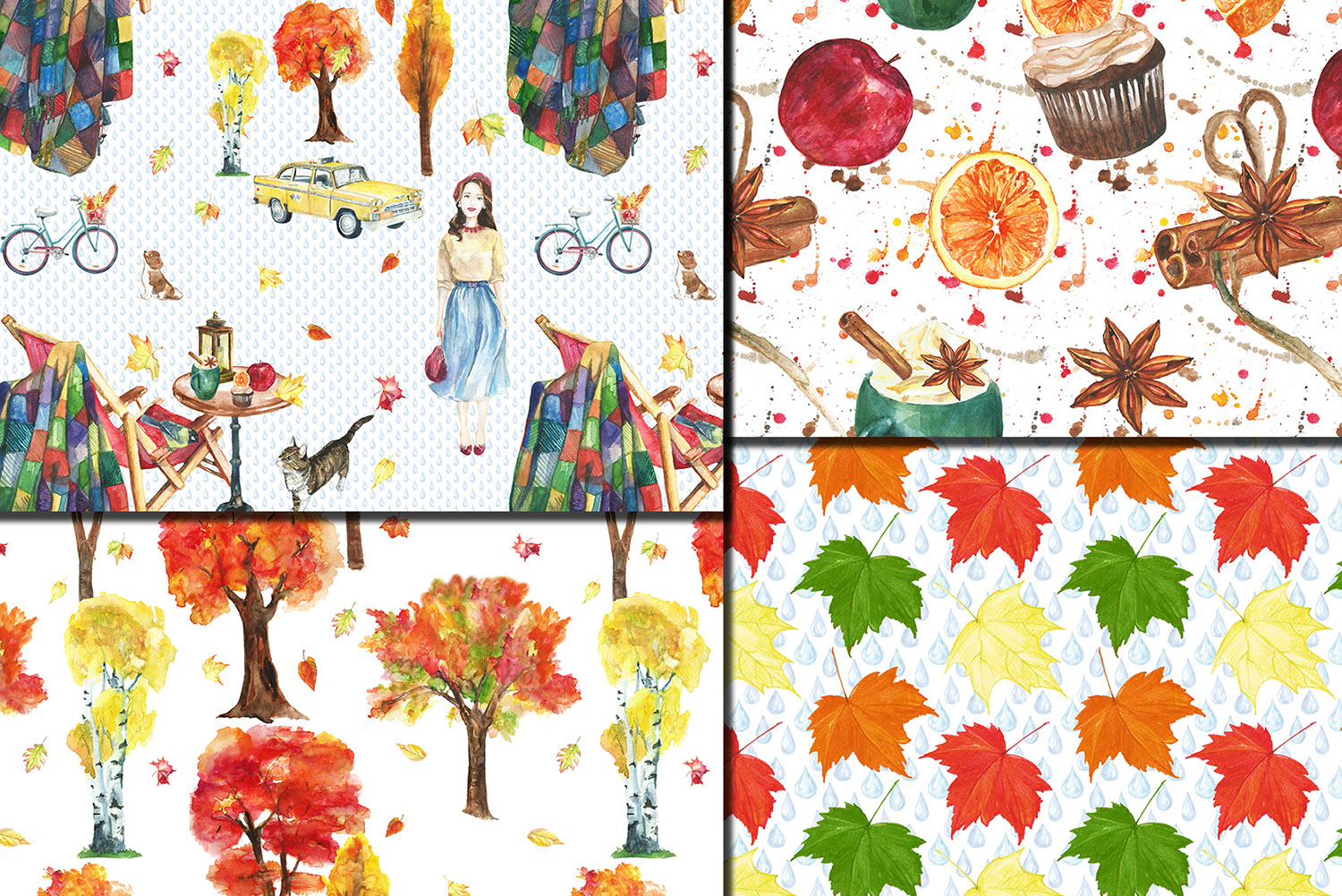 Watercolor City in fall seamless patterns example image 3