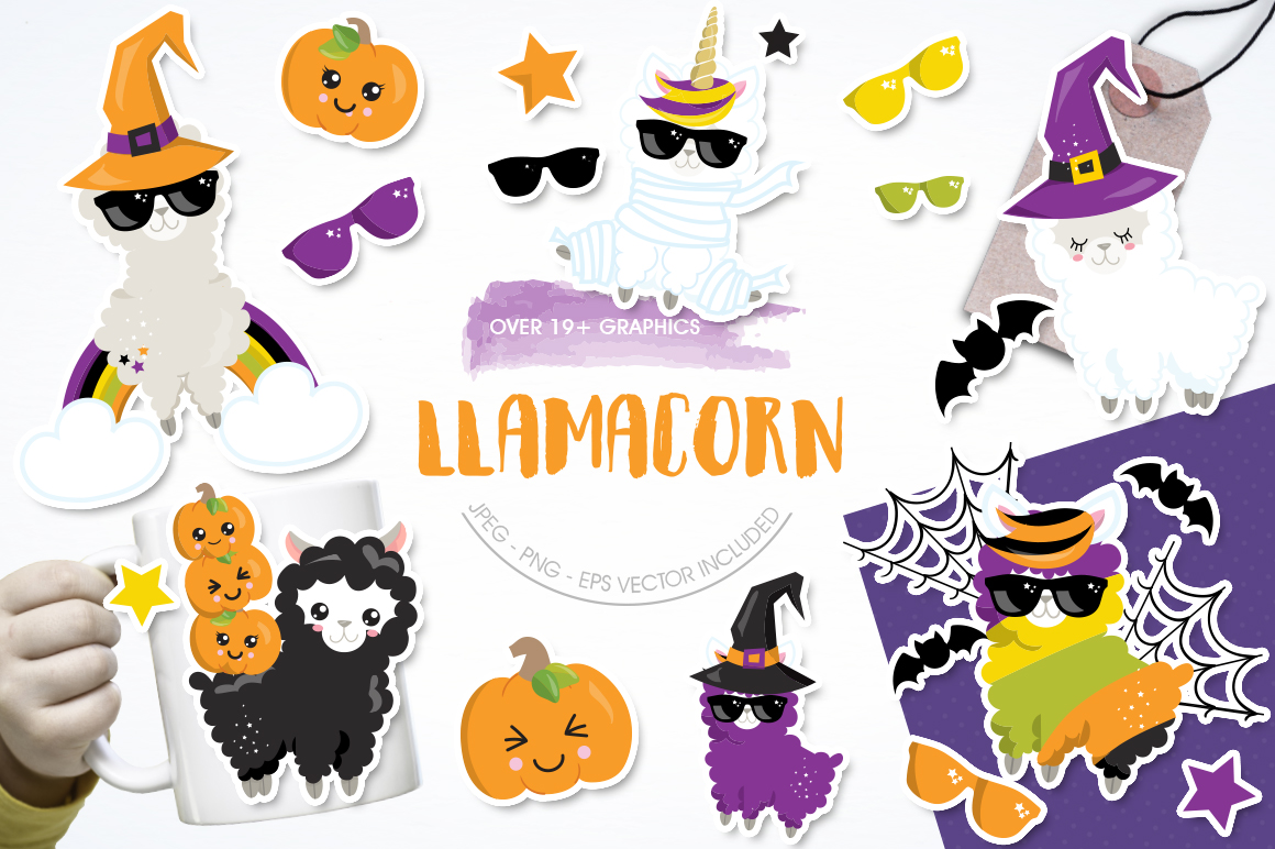 Llamacorn graphic and illustrations example image 1