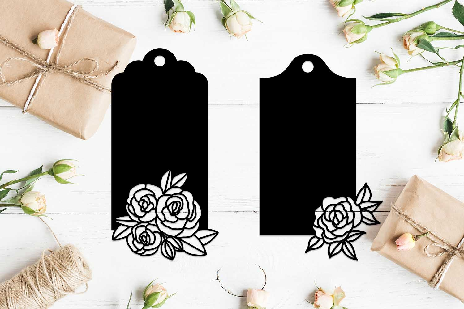 Set of 2 Floral tag stencils. example image 1