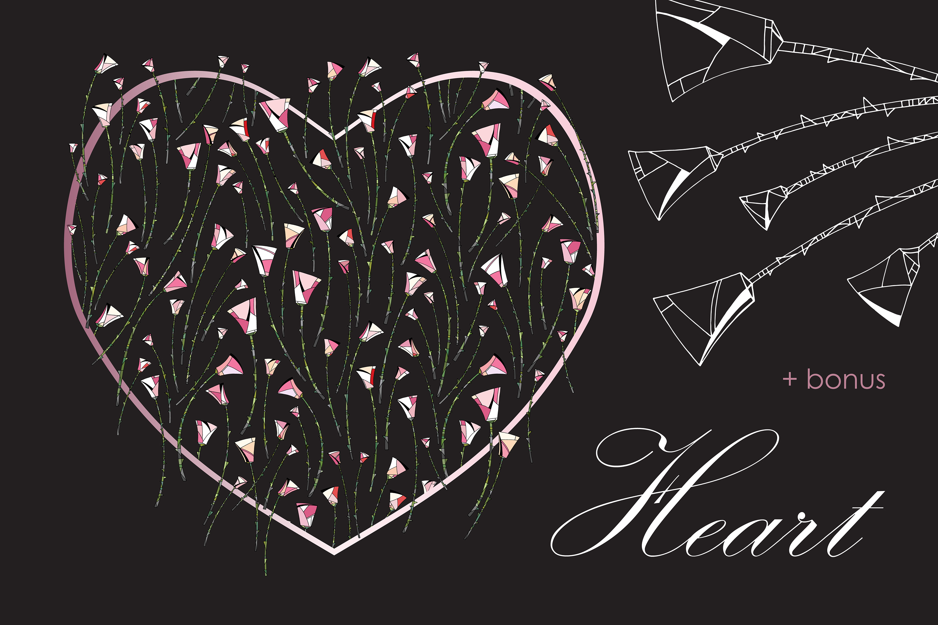 Roses patterns and frames. Flowers vector illustrations. example image 5