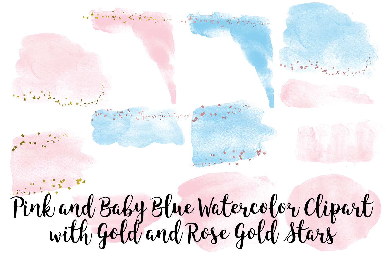 Pink and Baby Blue Watercolor Clip Art, Gold and Rose Gold example image 2