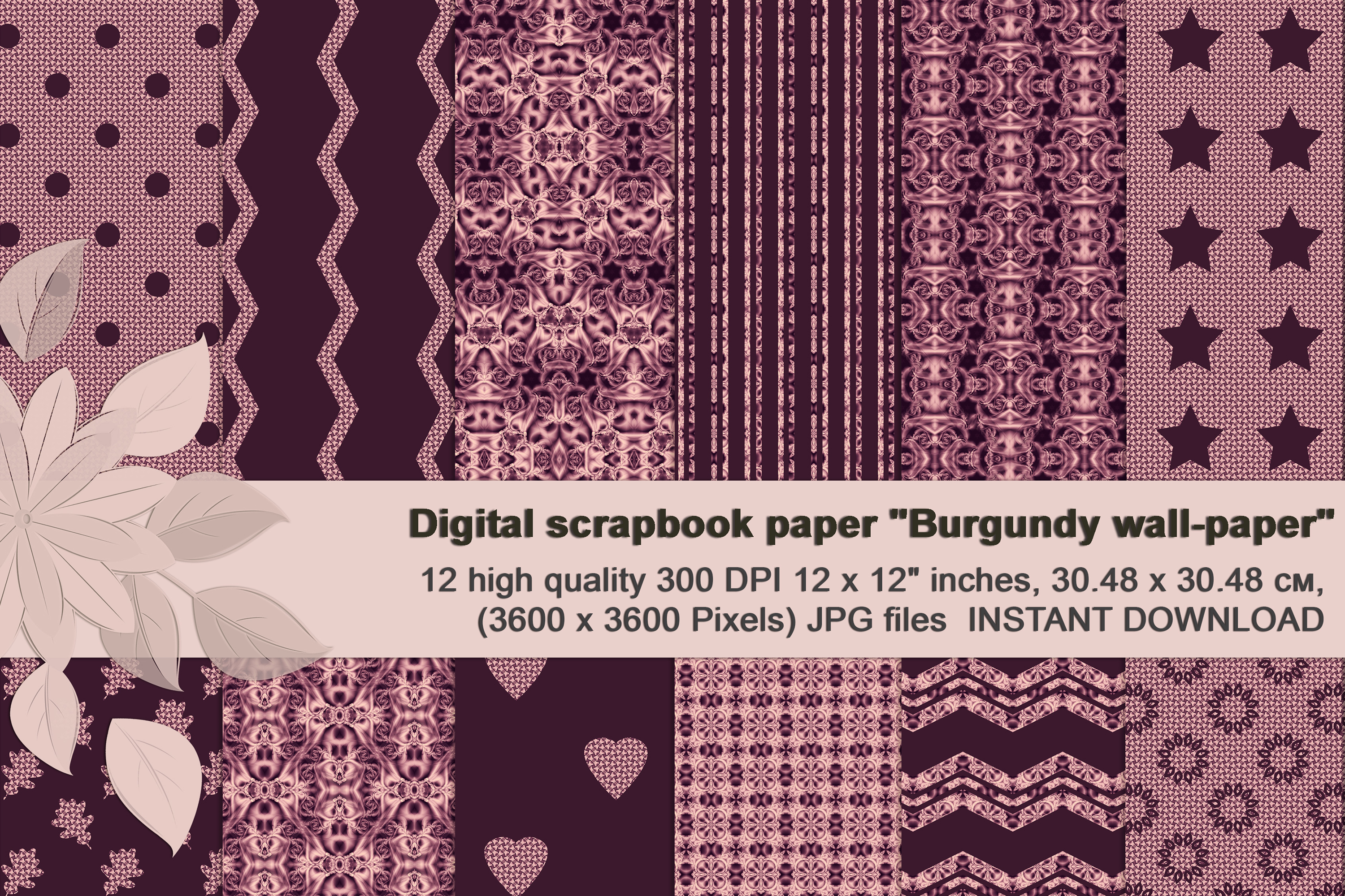 Burgundy abstract Scrapbook Paper example image 1