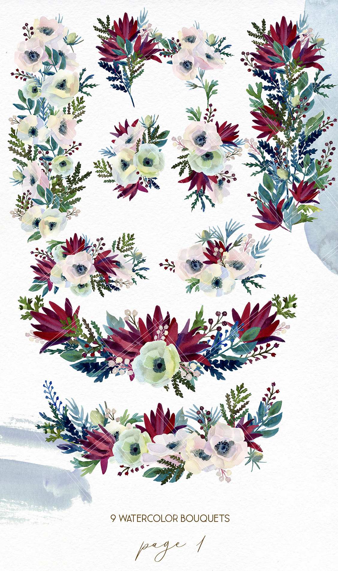 Watercolor anemone wedding floral bouquets, line art flower example image 2