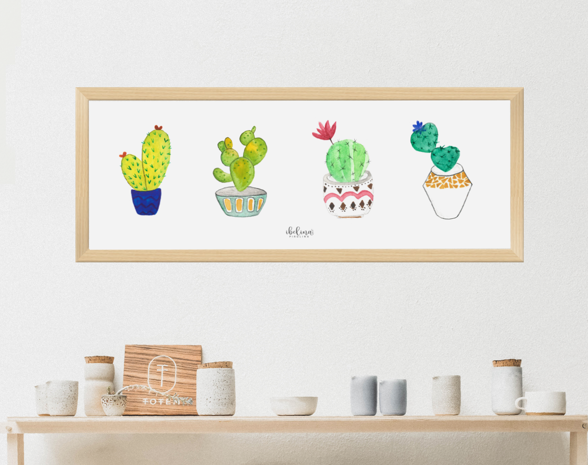 Handmade 4 little cactus art print, 45 x 15 cm, to decor an special place. Room decoration, deco, kitchen, living room. printing. Ready to print example image 2
