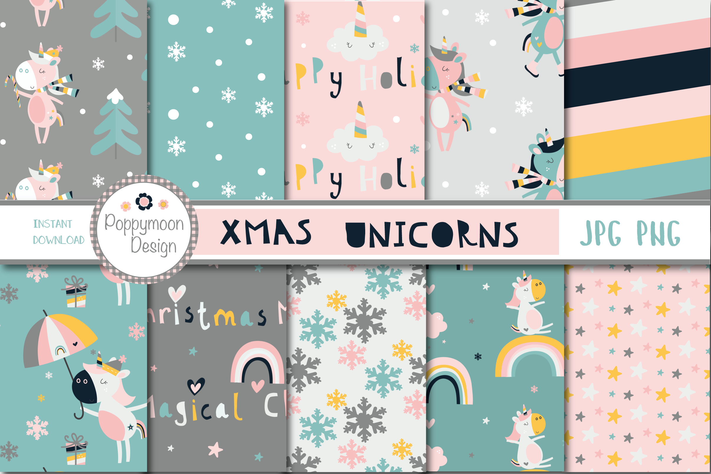 Xmas Unicorns clipart and paper set example image 3