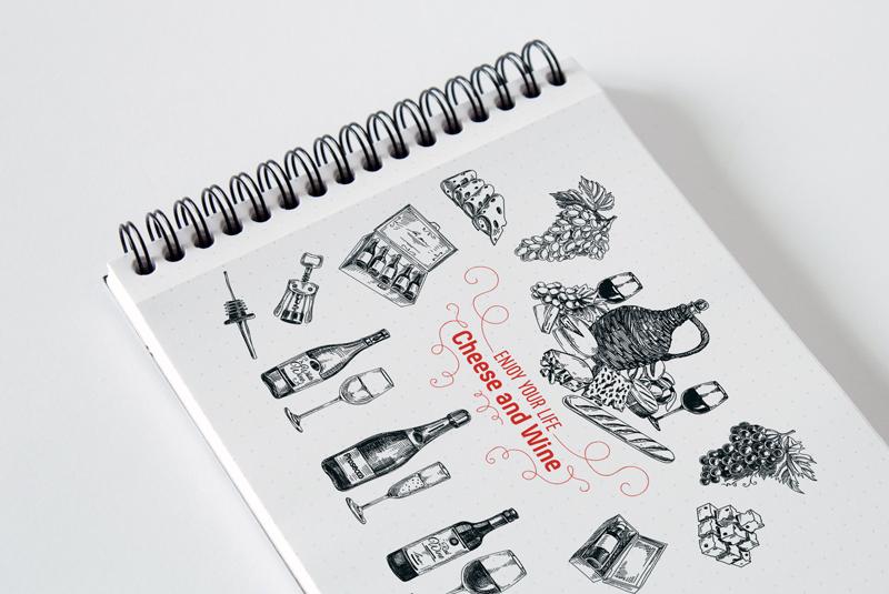 Hand drawn wine illustrations example image 3