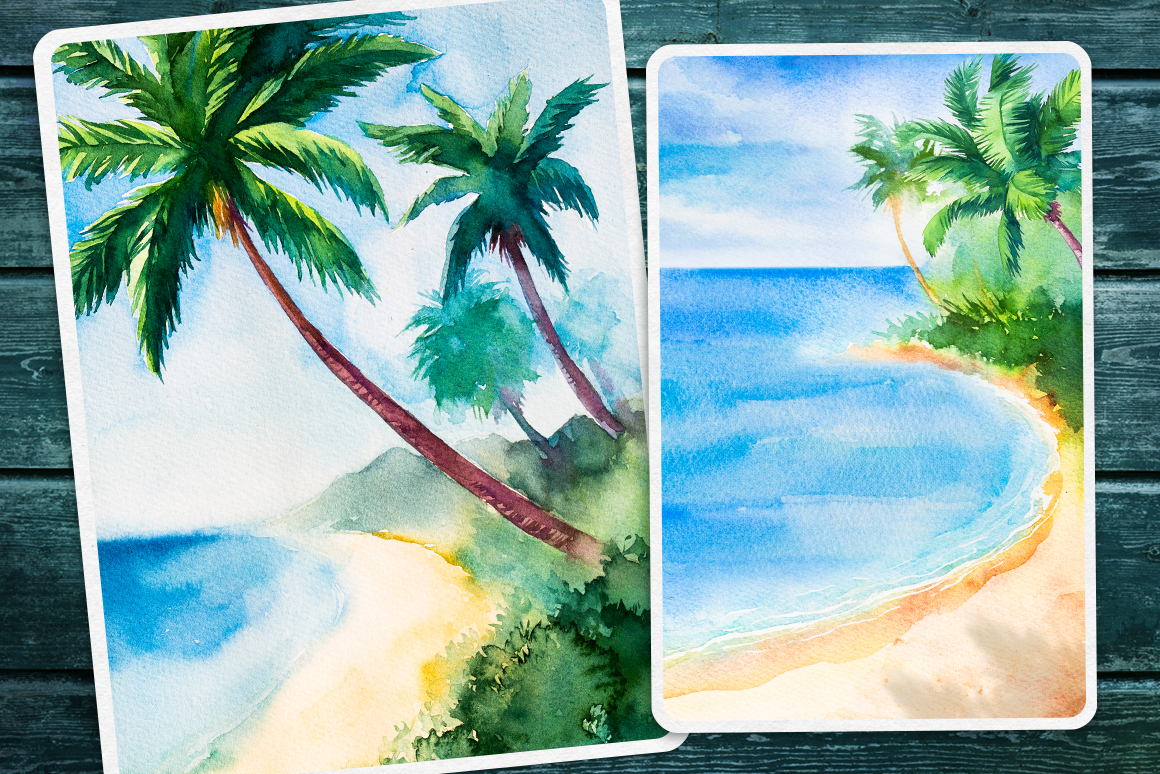 Seascapes 2. Watercolor set. example image 2