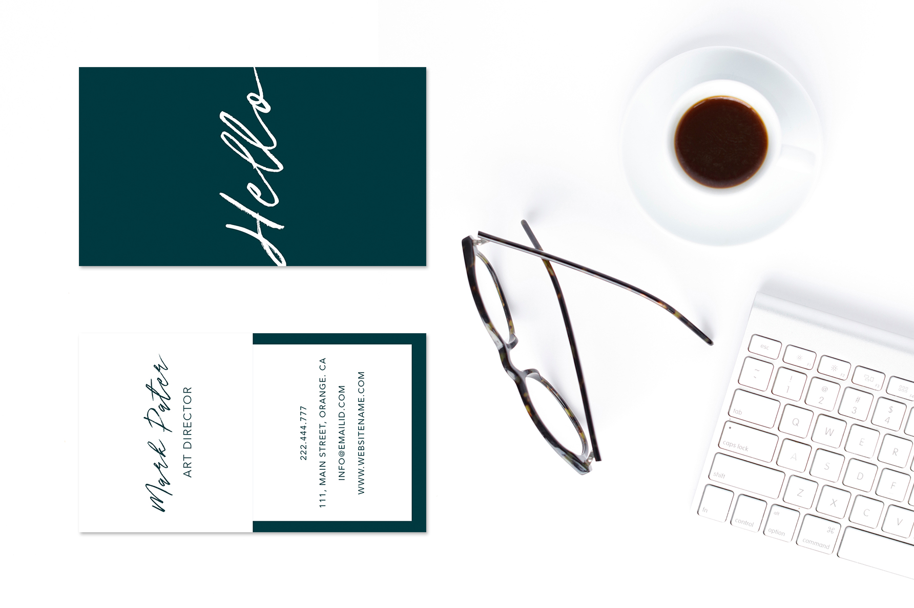 Professional hello script business card example image 3