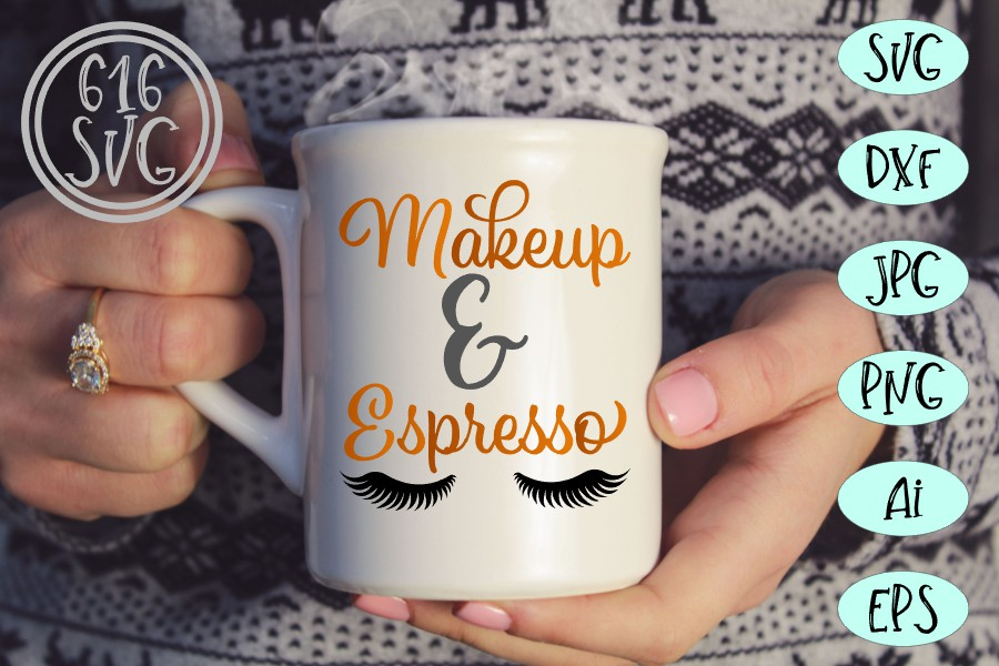 Makeup and espresso SVG, DXF, Ai, PNG example image 2