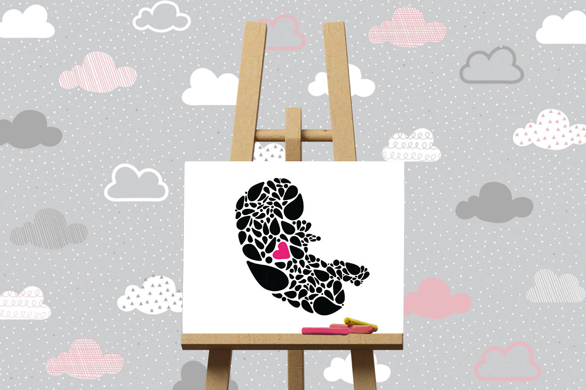 Pregnancy Announcement SVG Cut Files - Fetus First Heartbeat example image 3