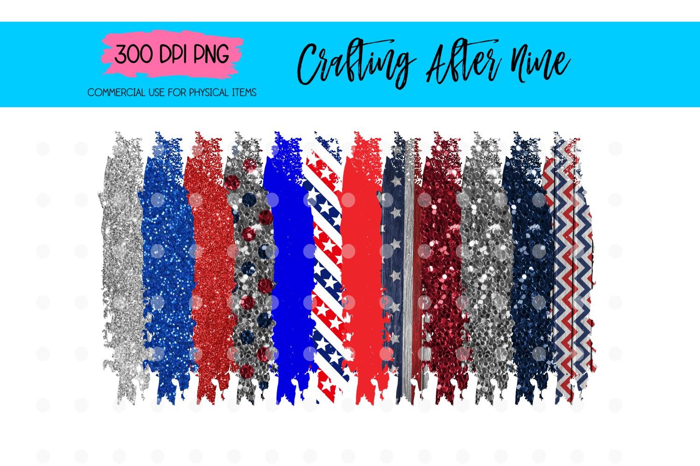 4th of July Paint Brush Stroke Background Bundle example image 1