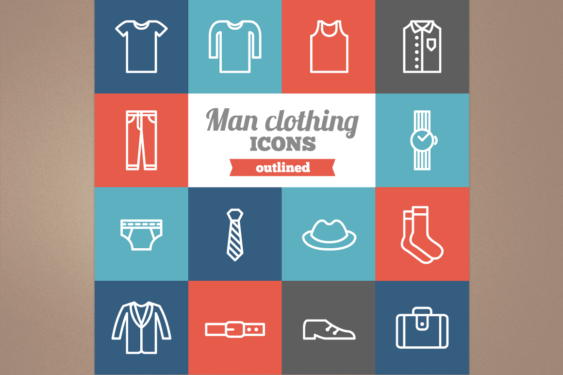 Outlined Man Clothing icons example image 1