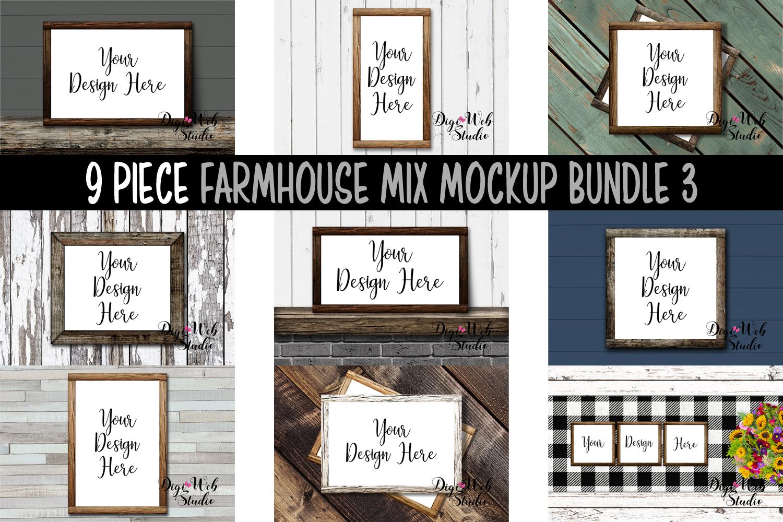 Wood Signs Mockup Bundle - 9 Wood Frames Farmhouse Mix 3 example image 1