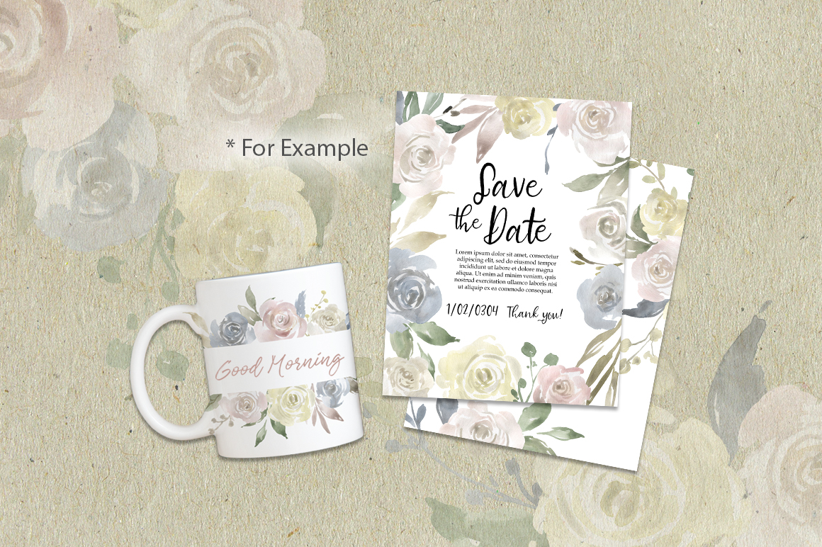 Watercolor Flowers, Bouquets, Frames Light PNG Clipart example image 5