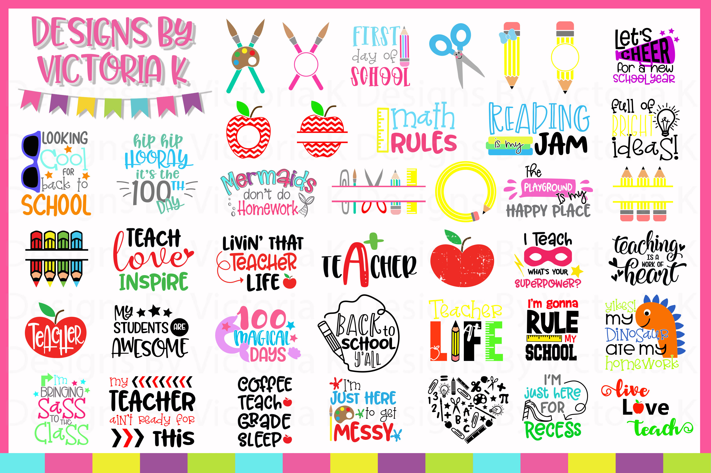 Back to school Bundle, 40 School designs, SVG, DXF, EPS example image 2