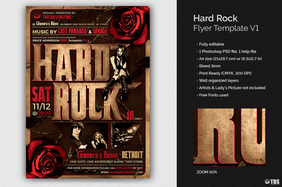 Hard Rock Flyer Template V1 example image 1