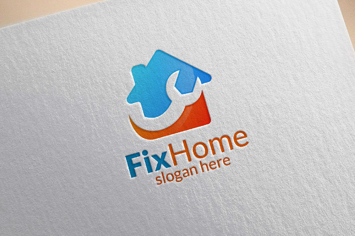 Real estate Logo, Fix Home Vector Logo Design suitable for architecture,  handyman,bricolage,Diy,and for another application company example image 1